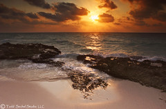 Playa Sunrise. (tsechel) Tags: morning vacation beach water rock sunrise mexico sand paradise waves canon20d playadelcarmen quintanaroo caribbeansea 6gnd 9gnd