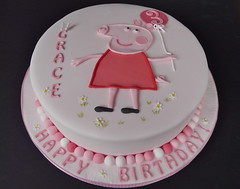 "Grace's ""wish cake"" ...... (abbietabbie) Tags: pink party cake three birthdaycake icing peppapig madeira fondant buttercream"