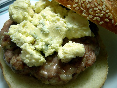 Pork burger with creamy blue cheese
