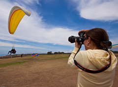 The paraglider... The photographer... and the Ultra Wide Angle... (HisPhotographs.com) Tags: world blue sky beach clouds canon san angle sandiego famous wide diego pines shooting another paragliding ultra efs 1022mm f4 torrey photograher gliderport 24105 torreypinesgliderport 50d
