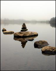 'i, (angus clyne) Tags: mist fog scotland perthshire calm steppingstones loch dunkeld flikcr clunie colorphotoaward