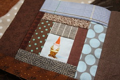 Gnome in a Log Cabin (green ink) Tags: sewing moda patchwork amybutler japanesefabric heatherross
