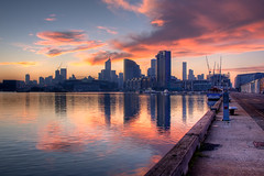 Docklands at sunrise HDR (tim.mcrae) Tags: blue orange reflection water yellow sunrise stadium australia melbourne victoria container telstra wharf dome yarra docklands cbd rialto etihad