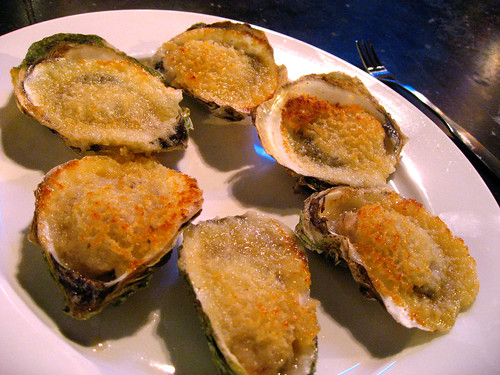 Baked oysters with garlic, butter and panko. Great textures - salty, sweet, crunchy, creamy. Tasty and a re-order when they get the larger oysters in.