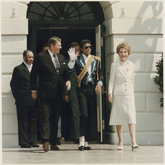 The Reagans and Michael Jackson at the White House Ceremony to Launch the Campaign Against Drunk Driving, 05/14/1984 (The U.S. National Archives) Tags: blue sunglasses glitter president whitehouse reagan michaeljackson eighties waving 1980s ronaldreagan kingofpop popstar nancyreagan whitedress freaksonparade presidentronaldreagan whiteglove presidentreagan tuxido ronaldwilsonreagan usnationalarchives nara:arcid=198548