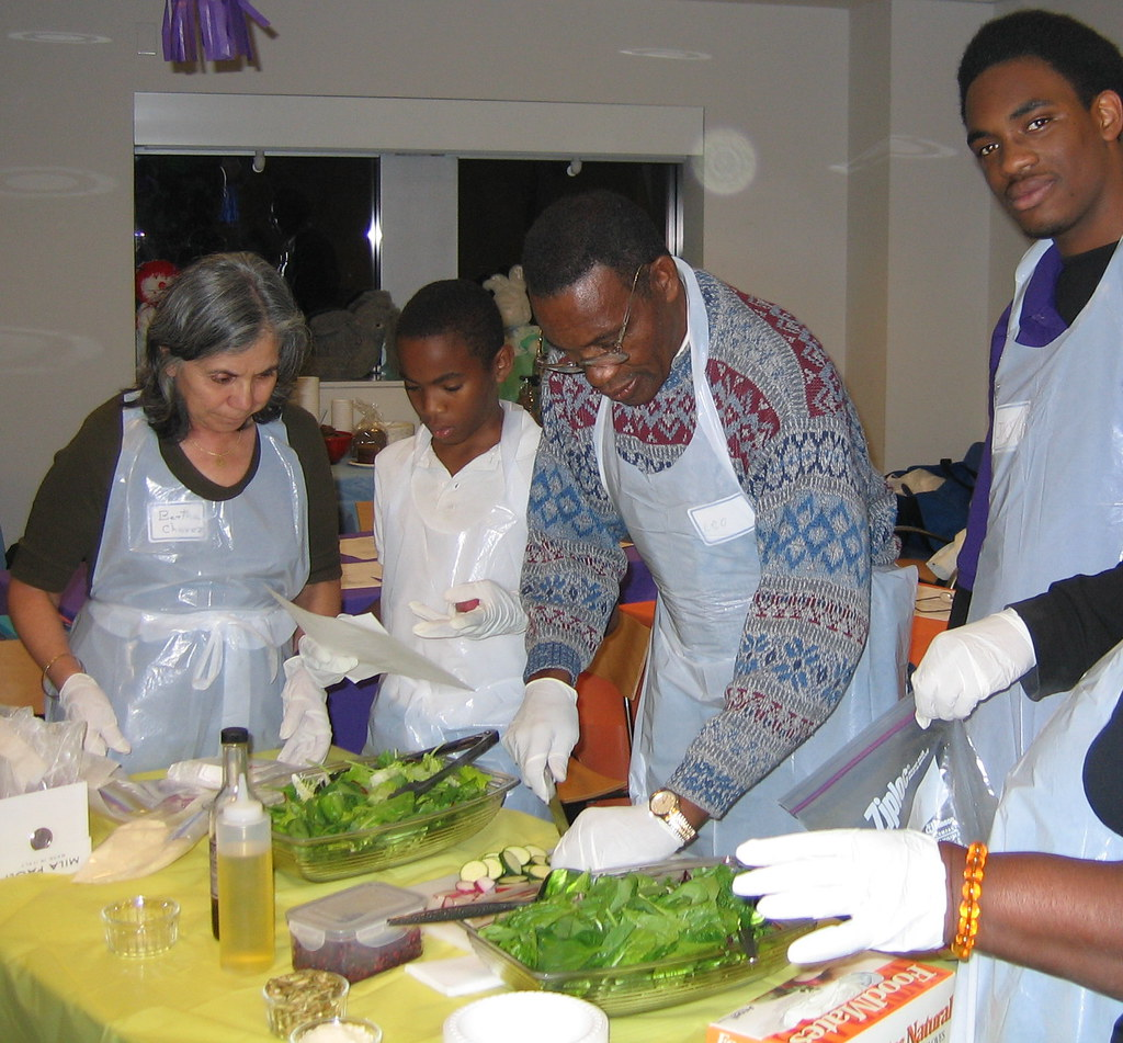 Salad prep during the healthy cooking workshop.