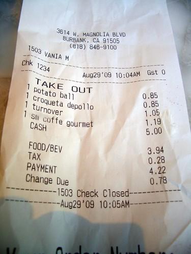 Portos receipt