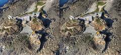 Fort Clonque, Alderney - Stereo (neilalderney123) Tags: flying 3d trislander sereo clonque alderneyplane