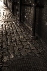 Cobblestone sidewalk (Josh Derr) Tags: nyc brooklyn cobblestone hdr manholes vinegarhill 3xp