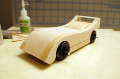 2009 Pinewood Derby Car #2 (Step 9, first complete fitting) (cdubya1971) Tags: wood ohio car race design boyscouts howto 2009 pinewood cubscouts bsa pinewoodderby funnycar csca gravitycar woodcar pinewoodderbycar