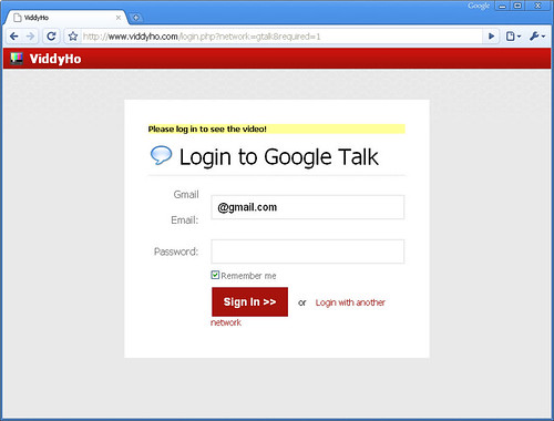 Viddyho Phishing for Gmail Passwords