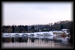 Snow at Ogston.. (sidewinder54 (Closed For Business)) Tags: uk blue trees winter england lake snow reflection tree ice nature water reflections landscape boats countryside boat interesting derbyshire lakes february reflexes ogston reflectsobsessions