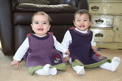 Rosemary and Maya wearing the Anouks I knit for them!!!