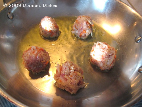 Swedish Meatball With A Twist: Starting to Brown