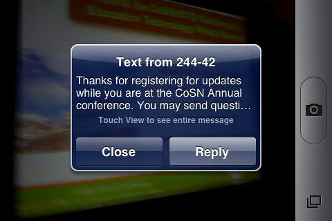 CoSN SMS Messaging confirmation