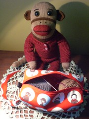 New sock(monkey) bag for mr. foster (No Knit Sherlock!) Tags: sockmonkey monkeybag ilovesockmonkeys mrfostersockmonkey sockmonkeybagfromzigzagstitches