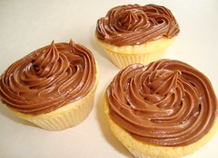 Chocolate Pudding Filled Cupcakes (DolceDanielle) Tags: food yellow dessert cupcakes baking with martha chocolate pudding filled cupcake stewart icing nutella bake frosting