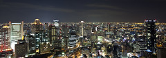 Osaka by Night (WilliamBullimore) Tags: city longexposure panorama japan night buildings lights cityscape skyscrapers au motionblur osaka umeda umedaskybuilding kitaku floatinggardenobservatory gorillapod canonef1635mmf28liiusm canonrc1wirelessremote canoneos5dmarkii goldstaraward