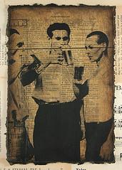 Week's End (potatobird) Tags: black men beer sepia mixedmedia drinking bookpages potatobirdstudio