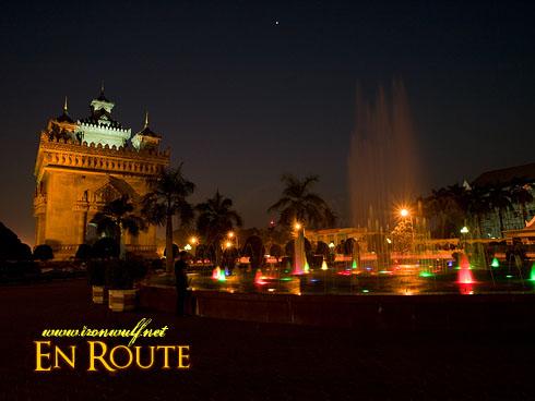 Patuxai Night Fountain View