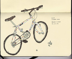 Kona Cinder Cone (George Pollard) Tags: moleskine bike bicycle sketch drawing sketchbook monday kona hardtail cindercone pmb pimpmybike joemurray projectnight 060409 onecarefulowner observationaldrawing drunkdrawing speedkingkayschopshop wwwpimpmybikenet photoshoppedcolour 1988model projecttwoforks iconicpaintwork oakleycycles