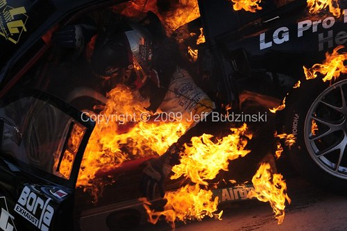 Boris Said LG Motorsports Car Fire at ALMS Long Beach