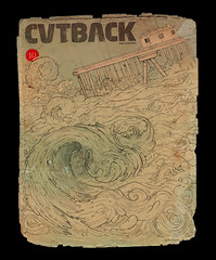 cutback hokusai (inocuo78) Tags: old venice beach sign pencil paper graffiti surf drawings cover hokusai ilustration inocuo cutback