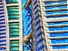 BWTC Abstractness (heshaaam) Tags: world blue windows abstract green glass colors bahrain center propellers trade hdr alumnium kella bwtc qtpfsgui