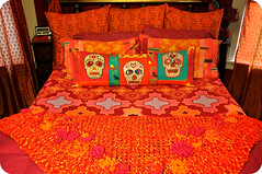 May Bed (eklektick) Tags: orange handmade teal cincodemayo hotpink sugarskull makingthebed eklektick beadedfloralafghanbykreativlee
