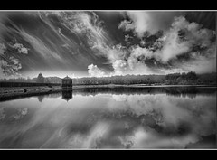Say you, Say me (b+w) (blueeyeddebby) Tags: sky blackandwhite lake clouds reflections lightandshade youvsthebest thepinnaclehof
