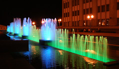 Minsk: Colored Fountains (lemmingby) Tags: blue green water night fountains belarus multicolored minsk