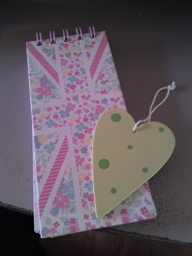 Notebook and heart ornament