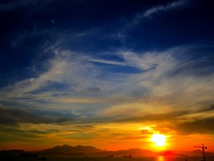 dramatic sunset (The Big Quack) Tags: blue sunset sea sky orange sun evening ships horizon platinumpeaceaward