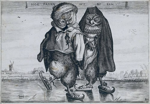satire: 2 owls ice-skating