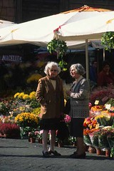 Two older women talking by a flower stall, Cam...