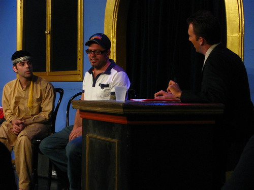 Seth Weitberg, David Cross, and Jordan Klepper at iO's Late Night Late Show reunion at Just For Laughs fest, Chicago