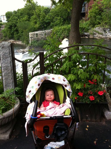 Walking near the falls with Daddy