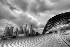 The Esplanade Theatres (The Durian) - Singapore (5ERG10) Tags: roof sky bw white black sergio skyline architecture clouds marina photoshop mall river bay hall blackwhite concert nikon singapore asia waterfront skyscrapers floor theatre top library perspective front page esplanade heat durian handheld fp frontpage architettura hdr highdynamicrange waterside theatres d300 3xp photomatix sigma1020 tonemapping amiti  5erg10 sergioamiti