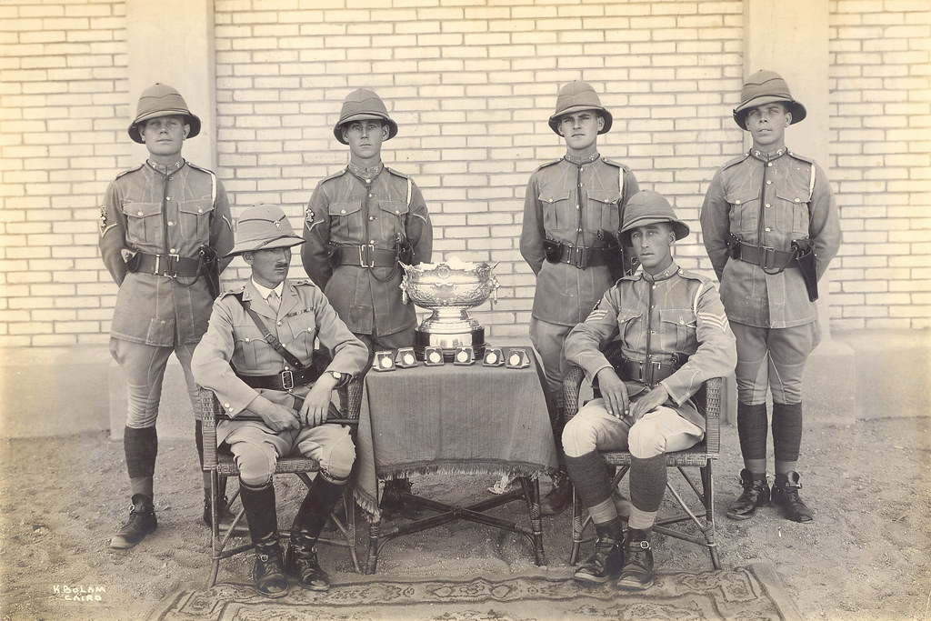 12th Royal Lancers Pistol Team in Cairo, Egypt with the Duke of Connaught's Cup 1930s