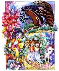 ISKCON desire tree - Krishna and Aghasura (ISKCON Desire Tree) Tags: demon krishna radha vrndavana balaram iskcon putana devaki radharani kamsa bakasura aghasura