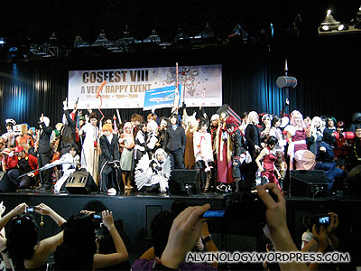Finale where the the cosplayers present are invited on stage for a group shot