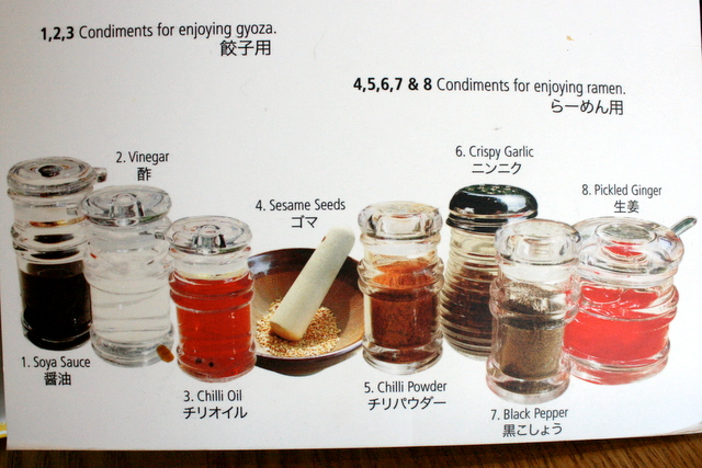 Many condiments to go with your ramen and gyoza