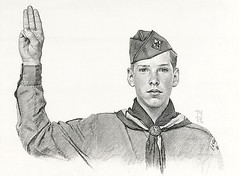 Norman Rockwell  -Boy Scout,pledge -pencil