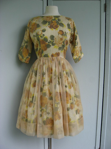 yellow & amber rose print taffeta party dress