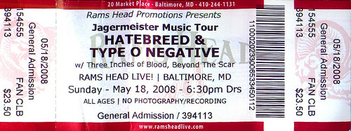 20080518 - Type O Negative ticket stub