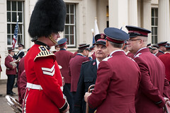 ISB120 2011 070 (Howard.) Tags: london hat standing army outdoor flag magenta american gathering trombone uniforms staring salvation bearskin 2011 staffband isb120