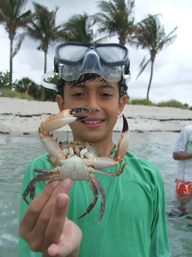 Ethan with one big crab