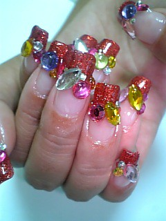 nail art gallery, ★Colorful Nails~★, nail art designs, nail polish gallery, Colorful Pink red blue black Nail art design gallery, nail art designs gallery