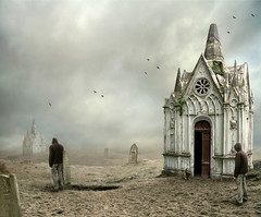 different shapes of loneliness (Mattijn) Tags: abandoned grave graveyard cat landscape skull loneliness tomb gothic hoody clones photomontage crows magicrealism mattepainting