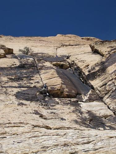 Shawn on belay, Katie seconding, on Oak Creek Wall, Red Rock NV